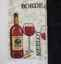 Kitchen Towels, Set of 3, Red Wine Bottle Merlot Bordeaux Design Black image 3