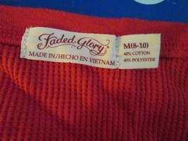 Womens Longsleeve Shirt M(8-10) Faded Glory Red TF165/ALS - $10.93