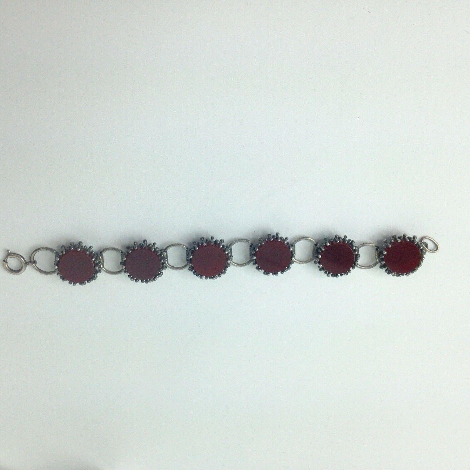 Vintage Bracelet 900 Silver Brown Stone Artisan Panel link