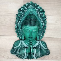 Buddha Mask Namaste Wall hanging Art Sculpture painting & carving Religi... - $115.71