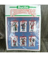 Christmas Counted Cross-Stitch Ornaments Kit Bucilla Old Time Santas Vintage - $41.57