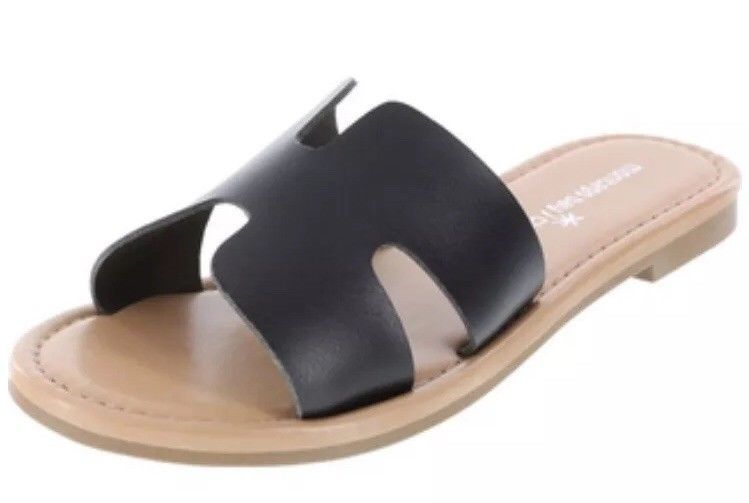 d0911b7e3817 Montego Bay Club TANGO H-BAND Slide Sandals Slip On Faux Leather Black 7 NEW  -  14.28
