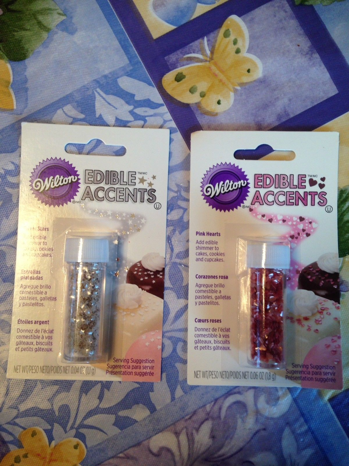 Wilton Edible Accents Pink Hearts & Silver Stars Set of 2 Brand New Sealed