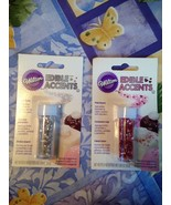Wilton Edible Accents Pink Hearts & Silver Stars Set of 2 Brand New Sealed - $9.99