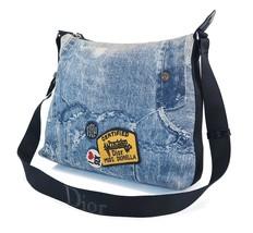 Authentic CHRISTIAN DIOR Blue Denim Print Canvas Shoulder Bag Purse #30666 - $429.00