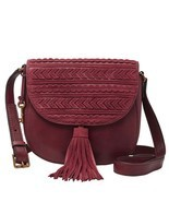 NWT $178 Fossil Emi Tassel Saddle Crossbody Bag Wine purse new - £80.67 GBP