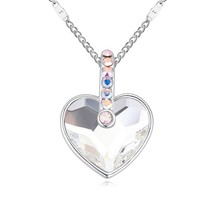 Angel Love Heart Shape Crystal Pendant Necklace Crystals from (White) - $90.28
