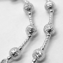 18K WHITE GOLD BRACELET FINELY WORKED 5 MM BALL SPHERE AND TUBE LINK 7.5 INCHES image 2