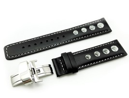 Black/White Leather Strap Band for TISSOT PRS516 watch clasp Rally Sport... - $26.98+