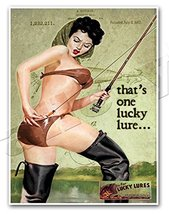 LUCKY LURES Vintage Fishing Advertisement Art Print PINUP GIRL Ad Poster... - $24.95