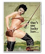 LUCKY LURES Vintage Fishing Advertisement Art Print PINUP GIRL Ad Poster - measu - $24.95