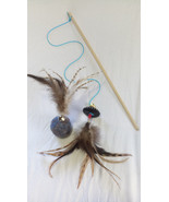 Cat toys Fun &  Interactive cat teaser wand and wool ball with feathers - $25.99