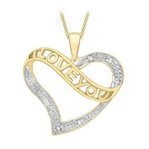 Carissima Gold Unisex 9 ct Yellow Gold with Diamond I Love You Heart Pen... - $353.00
