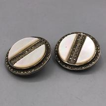 Vintage Sterling Silver Clip On Earrings & Brooch Set Jewelry Mid Century image 3