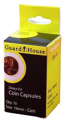 Guardhouse Penny/Cent 19mm Direct Fit Coin Capsules, 10 pack image 1