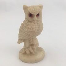 "White Owl Figurine Resin Composite 3 3/4"" Mexico - $6.76"