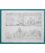 ARCHITECTURE India Temples Pagodas Ellora Elephanta - 1828 Antique Print - $8.55
