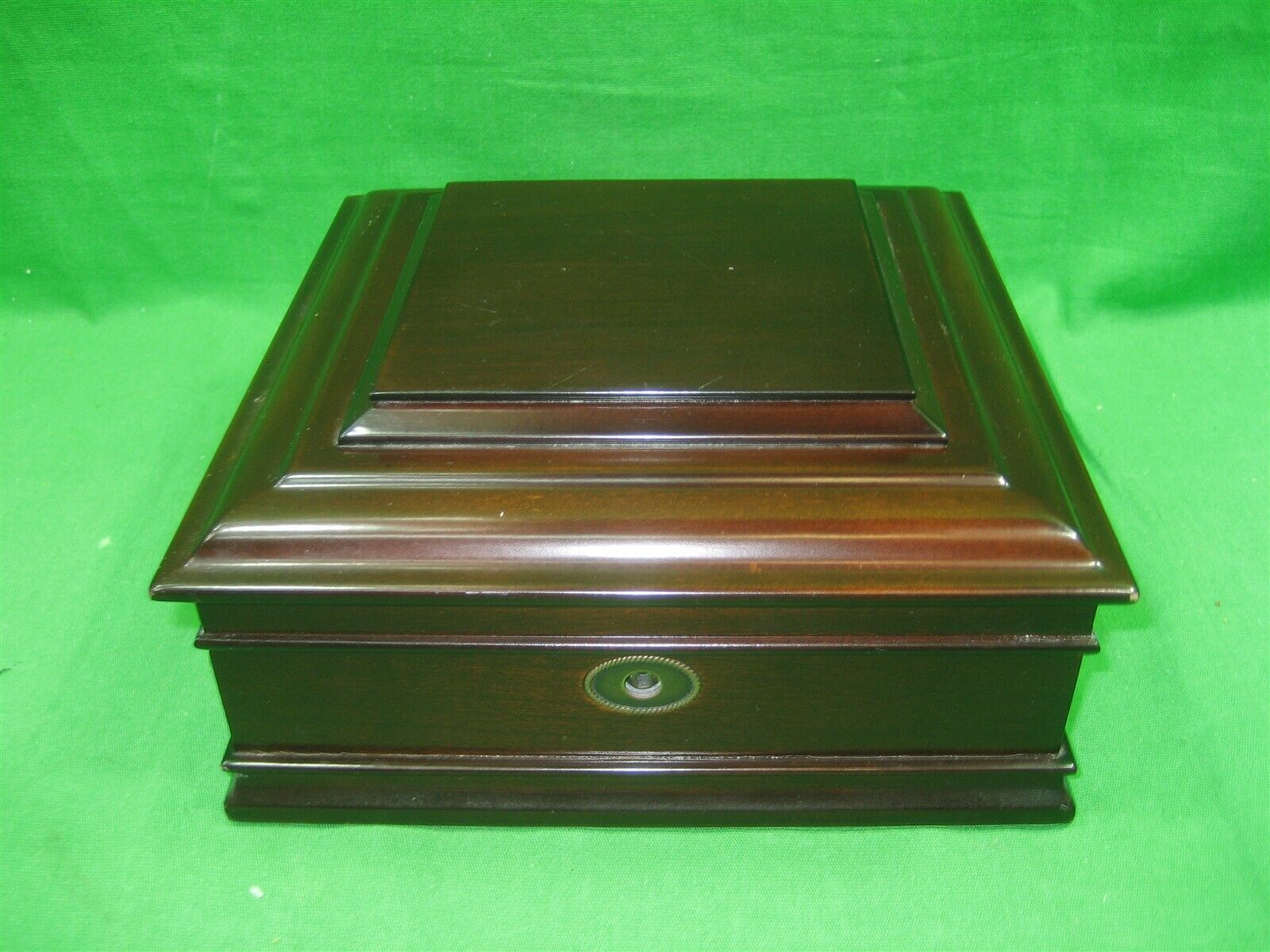 Vintage cherry wood jewelry box with pewter photo frame