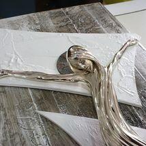 "HANDMADE BIG PANEL WALL CRUCIFIX, PAINTED WOOD, STYLIZED CHRIST, 23.6"" ITALY image 5"