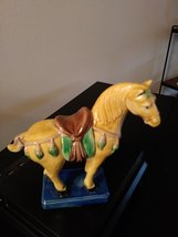 "Old Chinese Tang Style 3 Color Porcelain Pottery Horse Statue 6.5""  1981  Chang- image 2"