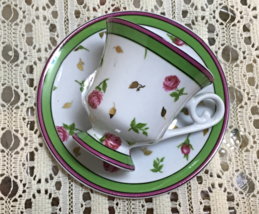 Vintage Demitasse Tea Cup W/Saucer Roses Green Burgundy Collectible - $6.99