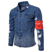 2018 autumn Men's Casual jeans jackets Holes decoration Outwear Cotton c... - $65.04