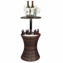 ZENSTYLE Height Adjustable Cool Bar Rattan Style Outdoor Patio Table Des... - $88.42