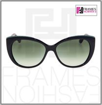 BVLGARI LOGO BV8169Q Black Green Leather Gradient Cat Eye Sunglasses Gold 8169 image 6