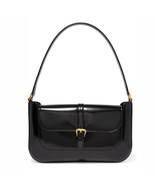 BY FAR Miranda Black Patent-leather Shoulder Bag Flap Bag - $480.00
