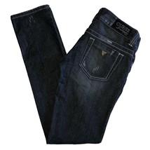 Guess Jeans Women 27 Daredevil Skinny Leg Distressed Blue Dark Wash Cott... - $37.39