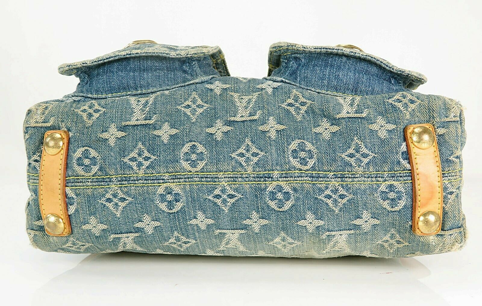 Authentic LOUIS VUITTON Baggy PM Blue Denim Shoulder Tote Bag Purse #34953 image 6