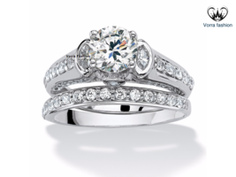 Bridal Wedding Ring Set 14k White Gold Plated 925 Sterling Silver Round Cut CZ - $88.99