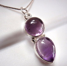 Amethyst Double Gem 925 Sterling Silver Pendant Round Teardrop New - $15.83