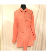 Jessica Simpson Maternity Coral Button Down Shirt Size Large Belted - $14.72
