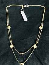 Ann Taylor 2-strand Necklace W/disc And Stones - $9.90