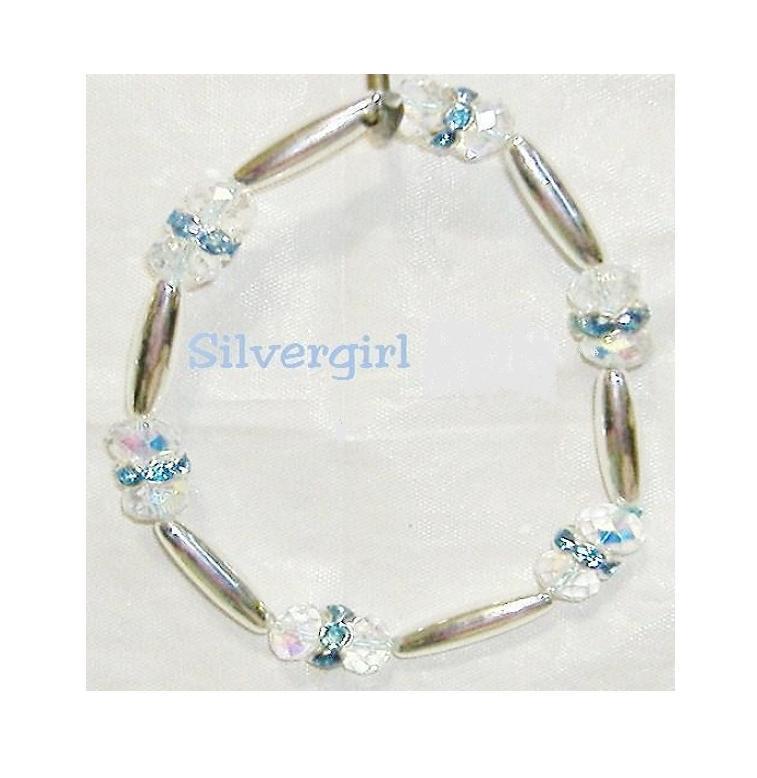 CZ AB Crystal Ice Blue SP Collar Stretch Bracelet