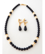 NAPIER Black & White Pearl Necklace and Earrings, Princess Diana Style, ... - $76.00