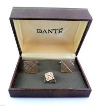 Vintage 1960s 70s DANTE Textured Goldtone CUFFLINKS & TIE TAC PIN in ORI... - $45.58