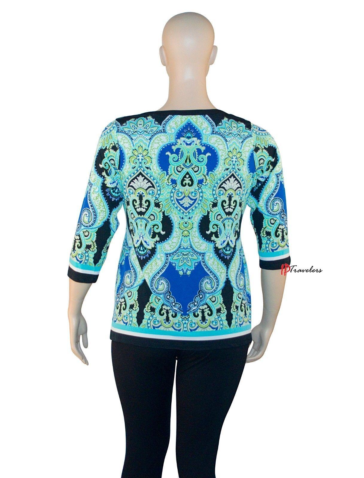JM Collection Women's Top Blouse Plus 0X Blue Springtime 3/4 Sleeves $64