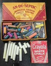 Vtg An-Du-Septic White Dustless anti-dust Chalk Binney & Smith Crayons C... - $10.99