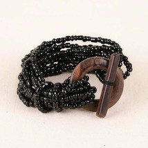 Black Beaded Bracelet Pink House Stretch Beads New Wood Toggle Fashion - $9.95