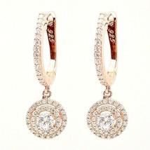 ZirconZ Cust-Dainty Sterling Silver Signity CZ Double Halo Hoop Dangle Earrings - $49.99