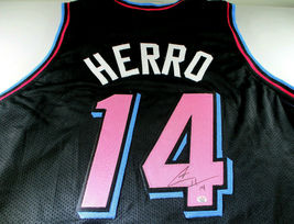 TYLER HERRO / AUTOGRAPHED MIAMI HEAT BLACK CUSTOM BASKETBALL JERSEY / COA image 1