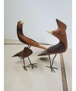 Handcarved Wooden Bird Figurines On Wire Legs - $59.40