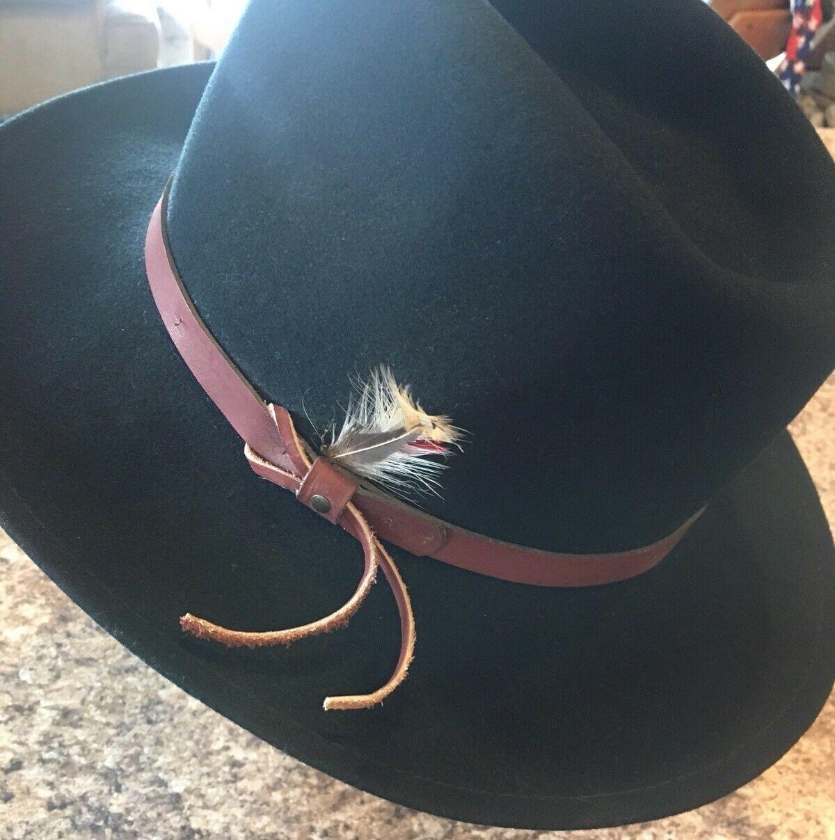 DORFMAN PACIFIC Fedora Black Wool Felt Velvet Hat Feather Sz M Brush Made USA image 2
