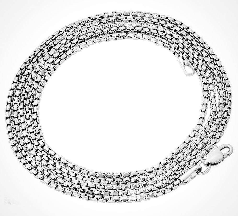 "Hip Hop Silver platinum Venetian Round Box Chain Necklace 3mm 24"" Lobster clasp"