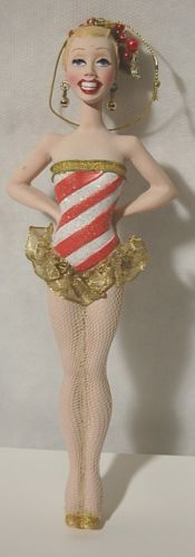 Candy Cane Striped Dancing Girl 8 Inch Christmas Ornament RK0013