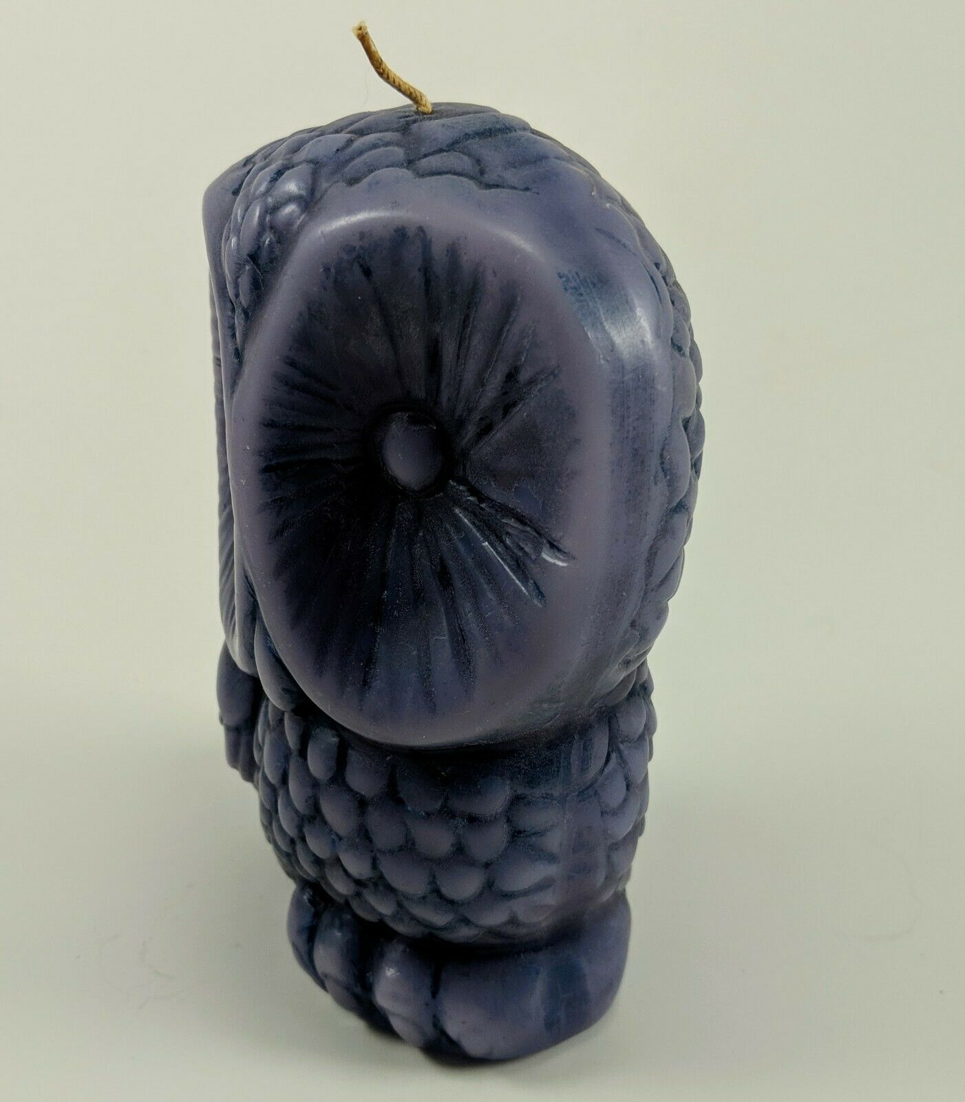 "1970's Purple Decorative Perched Owl Candle Wax Bird Display Figurine 6"" tall"