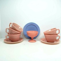 Hazel Atlas Glass Moderntone Platonite Pink Dinnerware 9 Pc Sherbet Cups Saucers - $34.99