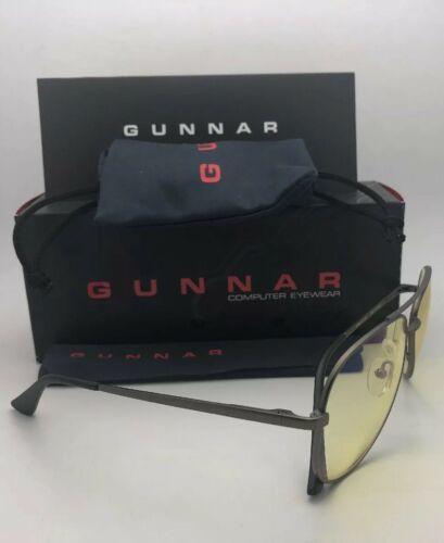 New GUNNAR Computer Eyeglasses MAVERICK 58-13 Gunmetal Aviator w/ Yellow Lenses